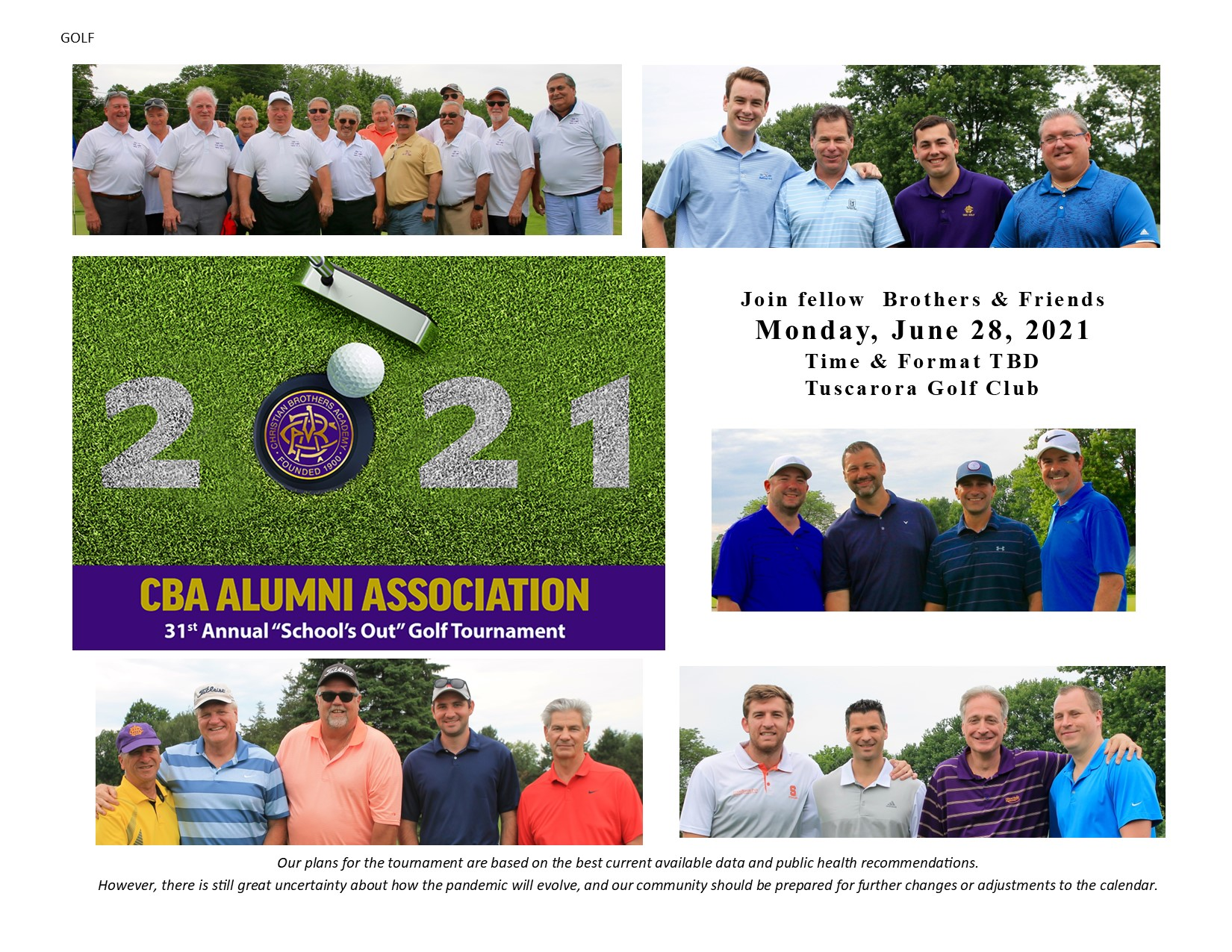 "31st Annual ""School's Out"" Golf Tournament June 28"